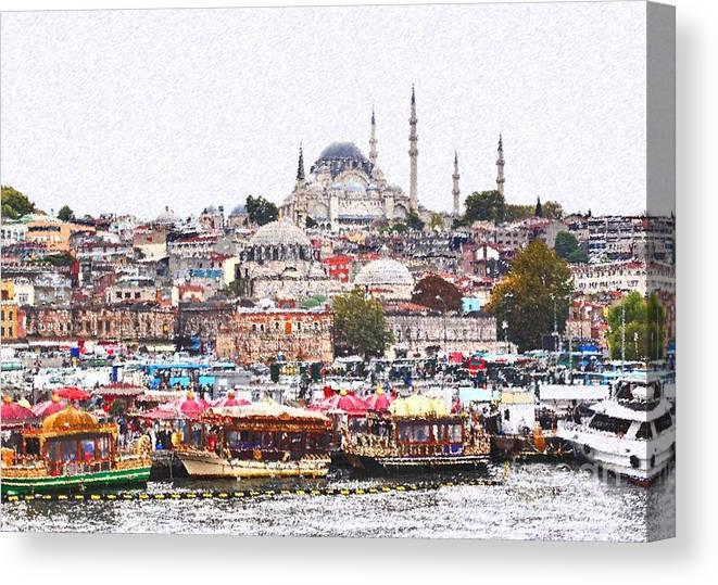Istanbul Canvas Print featuring the digital art Istanbul by Dia Karanouh