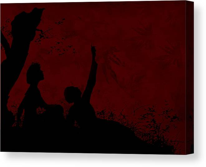 Silhouette Canvas Print featuring the photograph Lovers Under The Stars by Sandra Foster
