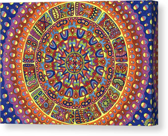 Voodoo Canvas Print featuring the drawing Mayhem Tikis by Chris Rolling