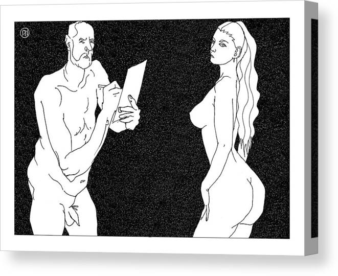 Art Canvas Print featuring the digital art Model And Artist 23 by Leonid Petrushin
