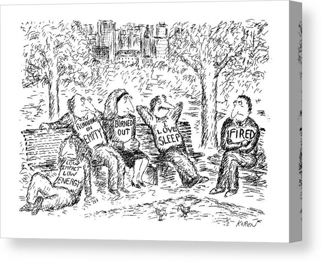Modern Life Canvas Print featuring the drawing New Yorker April 13th, 1992 by Edward Koren