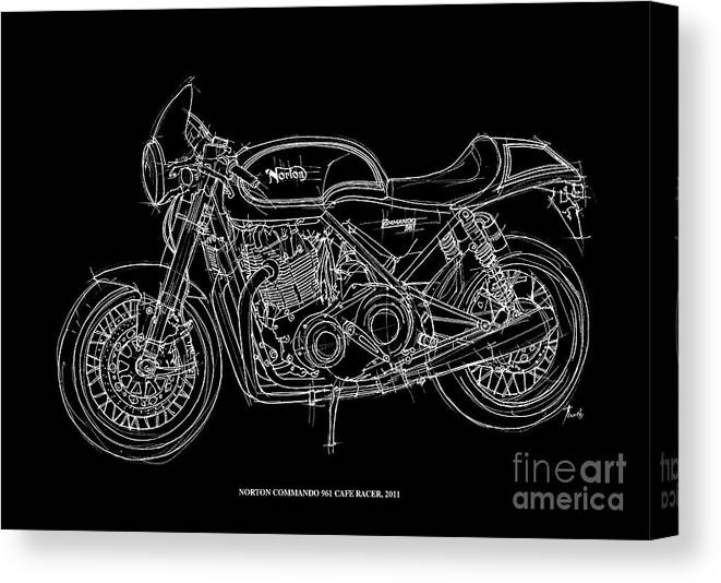 Norton Commando 961 Cafe Racer Canvas Print featuring the digital art Norton Commando 961 Cafe Racer