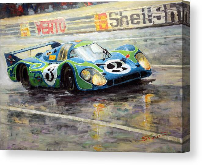 Acrilic On Canvas Canvas Print featuring the painting Porsche Psychedelic 917lh 1970 Le Mans 24 by Yuriy Shevchuk