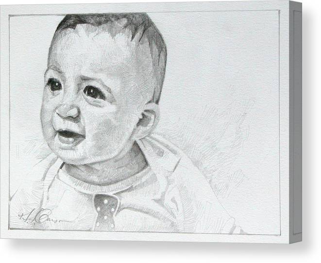 Portrait Canvas Print featuring the drawing Portrait Of Ben Pencil Drawing by T S Carson
