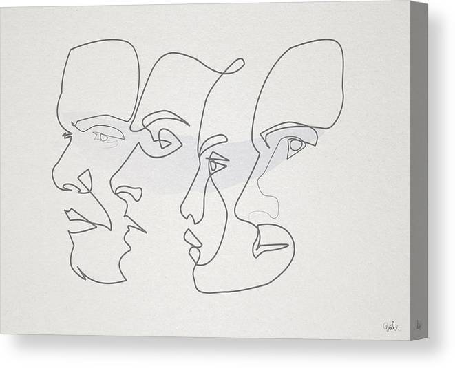 79dffc1bcbf Oneline Canvas Print featuring the digital art Profiles by Quibe Sarl