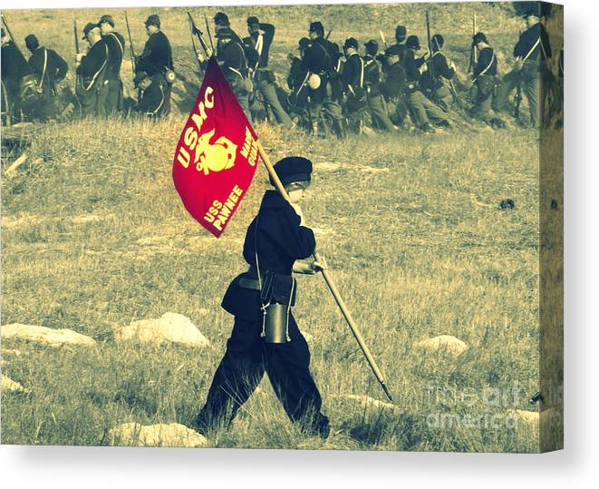 Civil War Canvas Print featuring the photograph Semper Fi by Conni Walker
