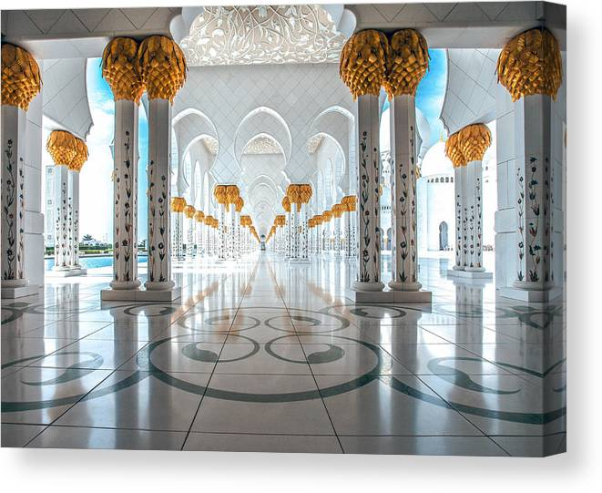 Uae Canvas Print featuring the photograph Sheikh Zayed Grand Mosque by Robert Aycock