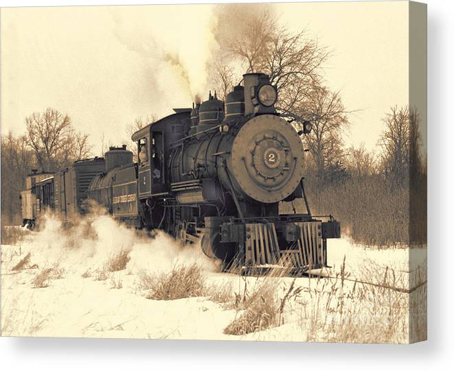 Sepia Canvas Print featuring the photograph Steam Engine Number Two by Robert Kleppin