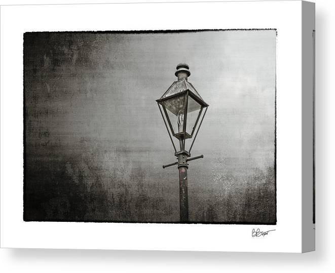 New Orleans Canvas Print featuring the photograph Street Lamp On The River In Black And White by Brenda Bryant