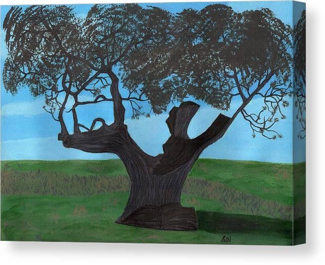 Landscape Canvas Print featuring the painting The Split Tree - Bradgate Park by Bav Patel