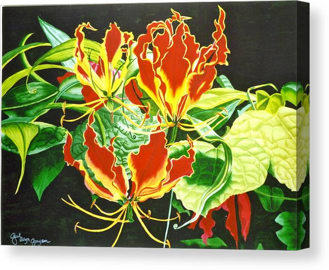 Flowers Canvas Print featuring the painting Tropical Delight by Gael Graysen