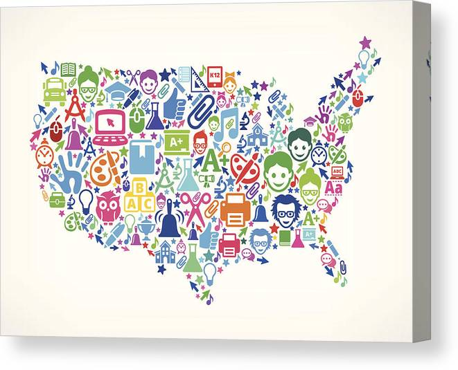Usa Map Education & School Royalty Free Vector Art Pattern Canvas ...