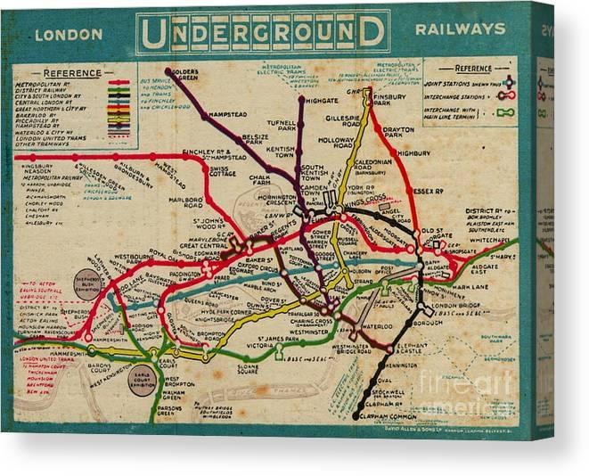 Vintage London Subway Map Canvas Print Canvas Art By Baltzgar