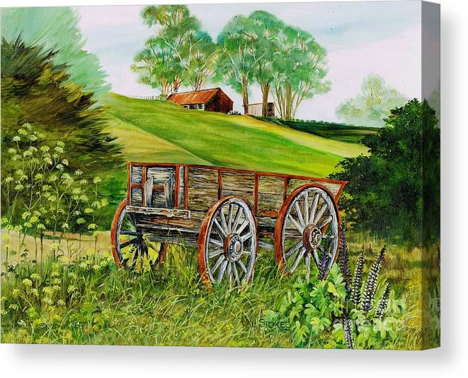 Wheels Canvas Print featuring the painting Weathered Wheels by Val Stokes