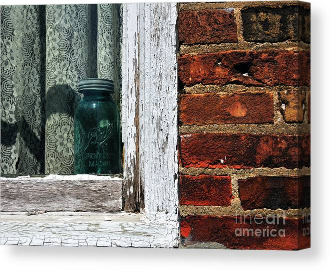 Jar Canvas Print featuring the photograph Ball Jar And Lace by David Arment