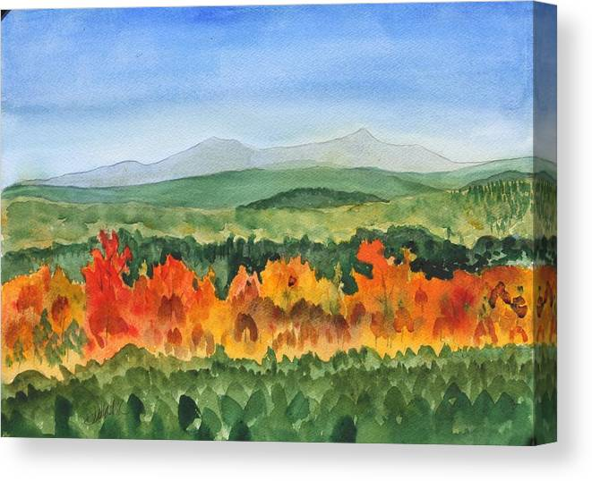 Barton Canvas Print featuring the painting Barton Vermont Autumn by Donna Walsh