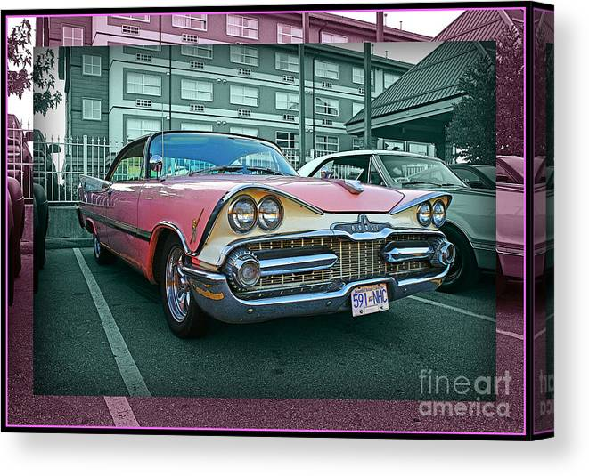 Old Cars Canvas Print featuring the photograph Big Pink Dodge by Randy Harris