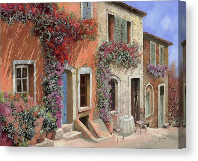 Caffe Canvas Print featuring the painting Caffe Sulla Discesa by Guido Borelli