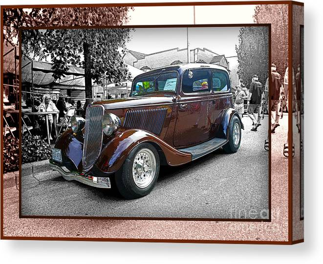 Old Cars Canvas Print featuring the photograph Classy Brown Ford by Randy Harris