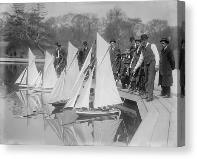 1910s Canvas Print featuring the photograph New York City, Start Of Toy Yacht Race by Everett