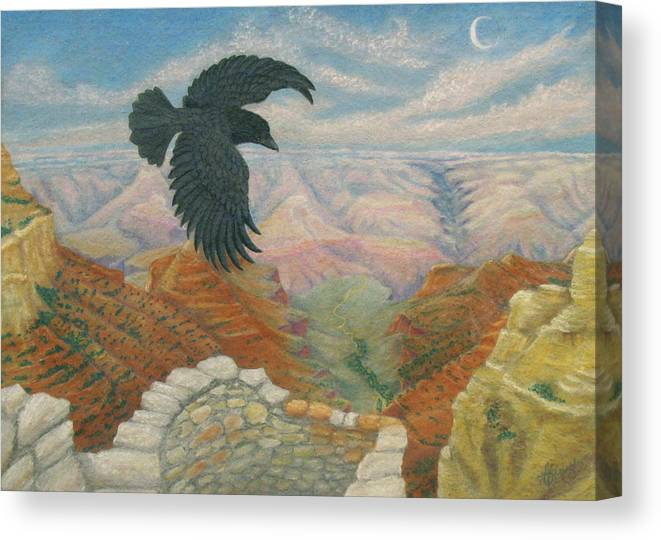 Marcia Perry Canvas Print featuring the painting Raven Over The South Rim by Marcia Perry