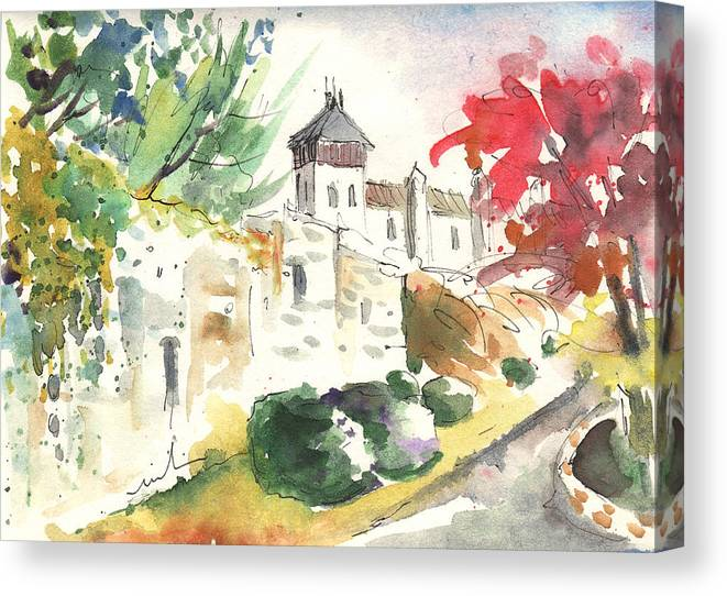 Travel Canvas Print featuring the painting Saint Bertrand De Comminges 04 by Miki De Goodaboom