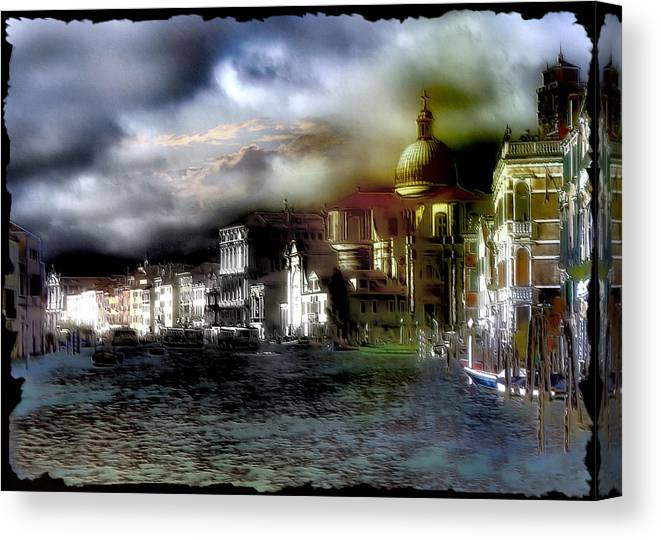 Canal;canale;gondola;venice;venezia;italy;italia Canvas Print featuring the digital art The Flow Of Waters Il Flusso Delle Acque by Monica Ghit