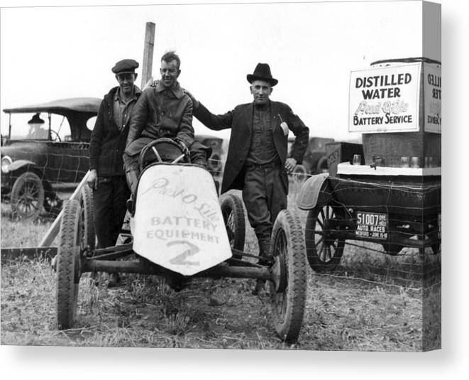 Race Canvas Print featuring the photograph Race Car Team 1923 Black White 1920s Archive by Mark Goebel