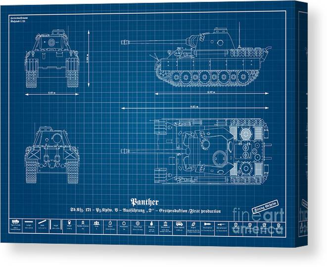 Panzer Of The German Wehrmacht - Blueprint Canvas Print featuring the digital art Sd. Kfz. 171. Panzerkampfwagen V - Panther by Marcel Thomas