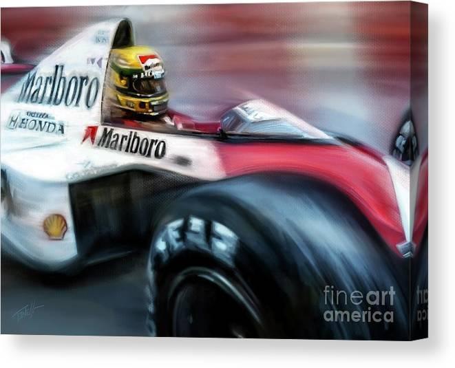 Monaco Canvas Print featuring the mixed media Racing 1989 Monaco Grand Prix by Mark Tonelli