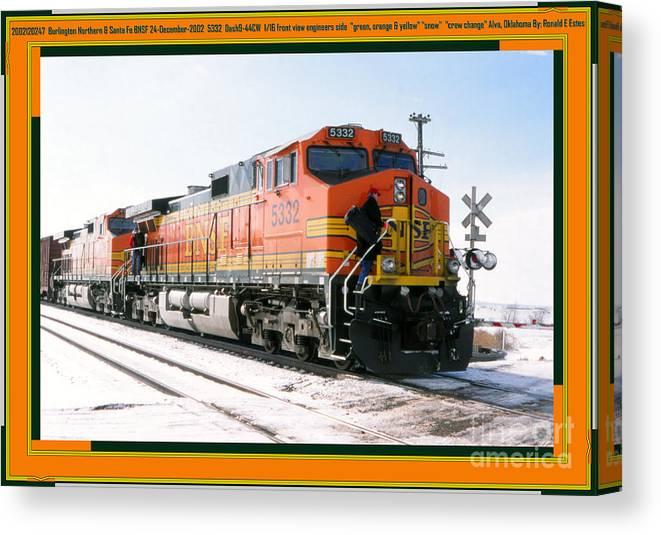 Bnsf Canvas Print featuring the photograph Burlington Northern Santa Fe Bnsf - Railimages@aol.com by Ronald Estes