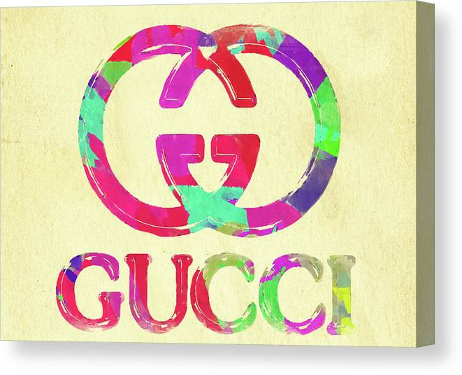 a0fc4ded1f17 Gucci Canvas Print featuring the photograph Abstract Gucci Logo Watercolor  II by Ricky Barnard