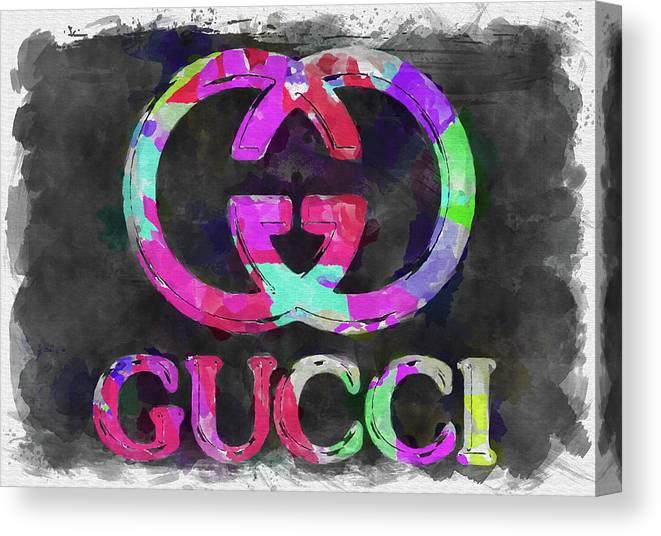 a5bca5827 Abstract Gucci Logo Watercolor Canvas Print / Canvas Art by Ricky Barnard