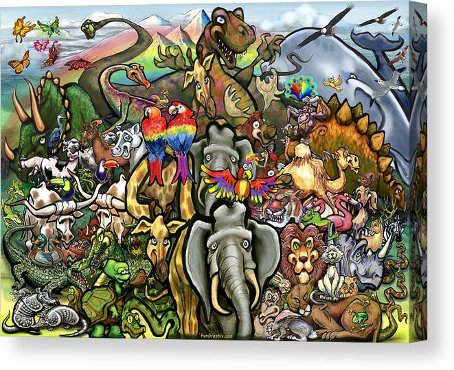 Animal Canvas Print featuring the painting All Creatures Great Small by Kevin Middleton
