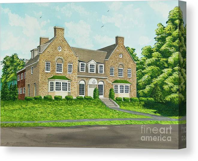 Colgate University Fraternity House Canvas Print featuring the painting Alpha Tau Omega by Charlotte Blanchard