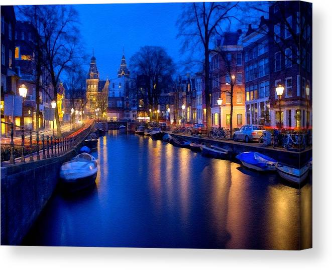 Amsterdam Canvas Print featuring the digital art Amsterdam - A Canal Scene At Night . L B by Gert J Rheeders