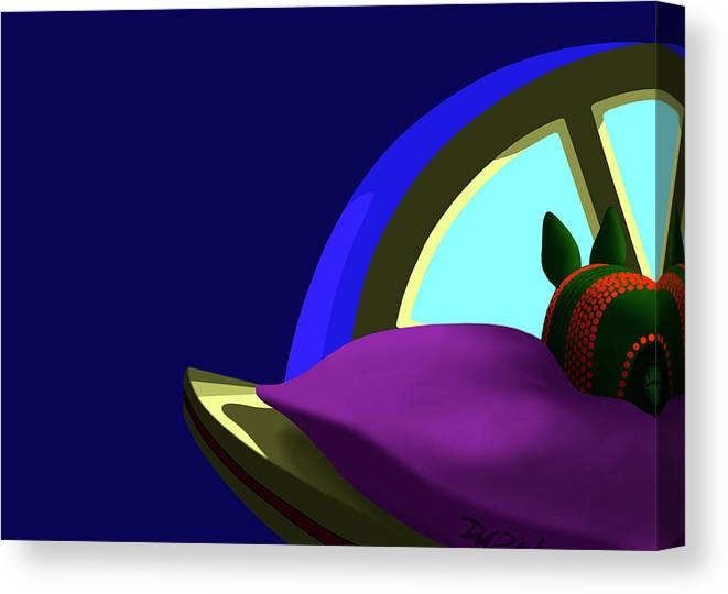 Animals Canvas Print featuring the digital art Armadillo On A Pillow by Tom Dickson
