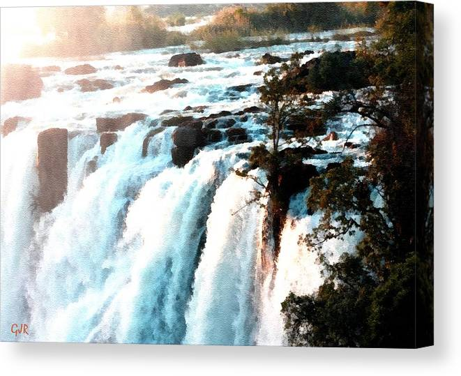 Waterfall Canvas Print featuring the digital art Waterfall Scene For Mia Parker - Sutcliffe L A S by Gert J Rheeders