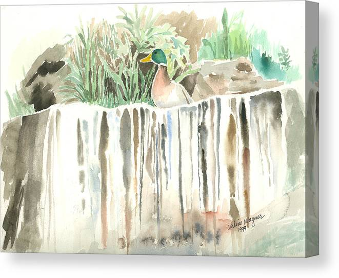 Waterfall Canvas Print featuring the painting Atop The Waterfall by Arline Wagner
