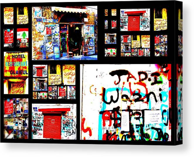 Lebanon Canvas Print featuring the photograph Beirut Colorful Walls by Funkpix Photo Hunter