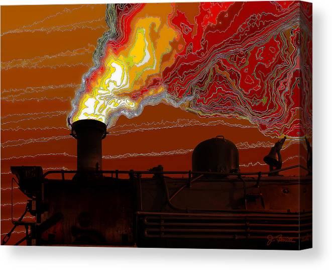 Steam Engine Canvas Print featuring the digital art Belching Fire by Joe Bonita
