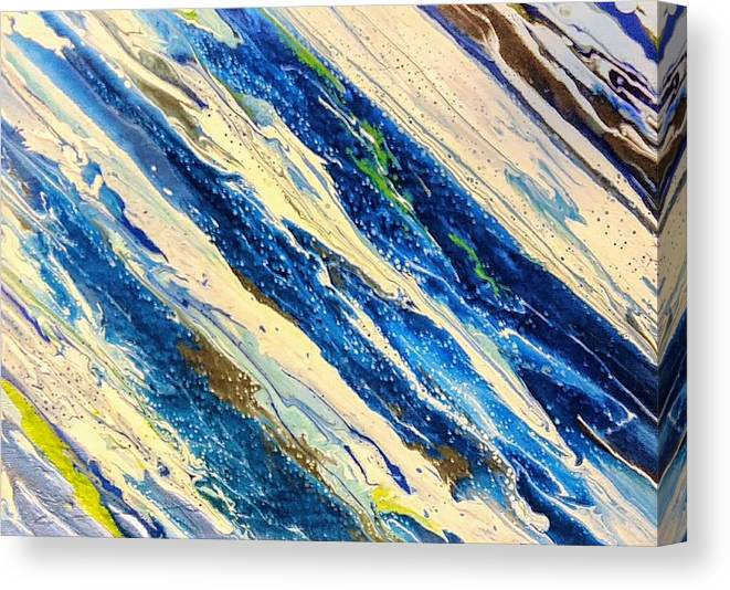 Abstract Canvas Print featuring the painting Blown Blew by Kymberley Page