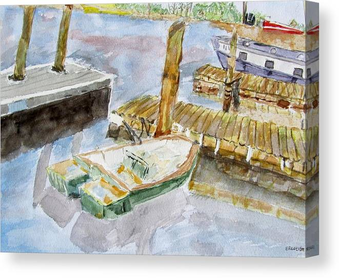 Boats Canvas Print featuring the painting Boats At Noon by Barbara Pearston