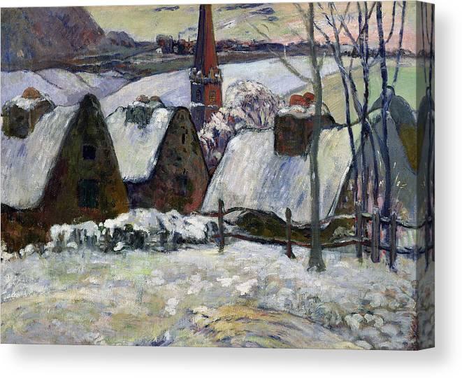 Breton Village Under Snow Canvas Print featuring the painting Breton Village Under Snow by Paul Gauguin