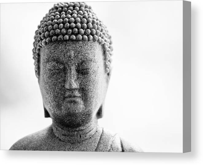 Buddha Canvas Print featuring the photograph Buddha In Black And White by Edward Myers