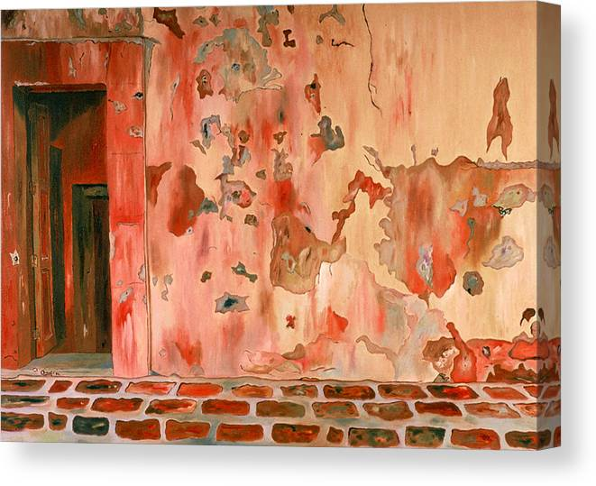 Landscape Canvas Print featuring the painting Casa Vieja Old House by Oudi Arroni