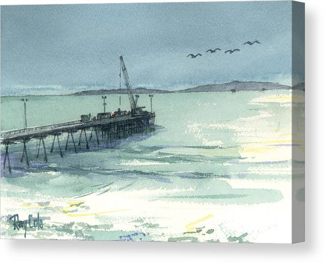View Of Casitas Pier Canvas Print featuring the painting Casitas Pier 3 by Ray Cole