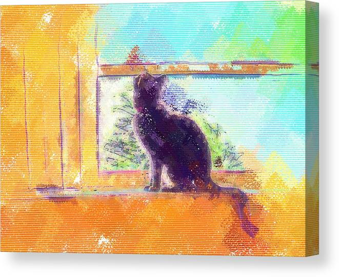 Cat Canvas Print featuring the digital art Cat Looking Out The Window by Nora Martinez