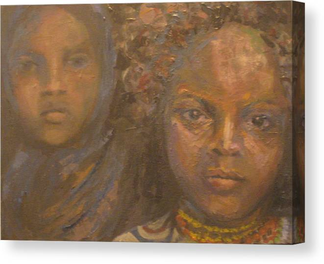 Black Canvas Print featuring the painting Children Of Sorrow by Connie Freid