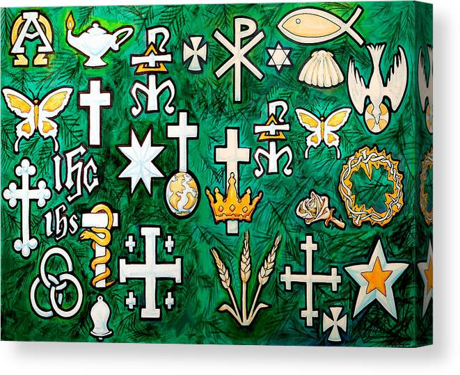 Chrismons Canvas Print featuring the greeting card Chrismons by Kevin Middleton
